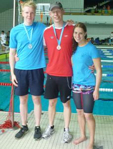 Medaillengewinner: Jan Schalla, Leo Fischer und Valerie Kamberg (von links).