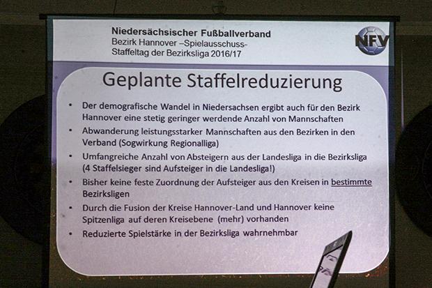 Bezirksliga-Reform: Plakative Argumente des NFV-Bezirks Hannover.