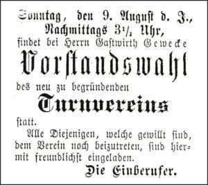 Gründerzeit: Einladung zur Vorstandswahl am 9. August 1891.