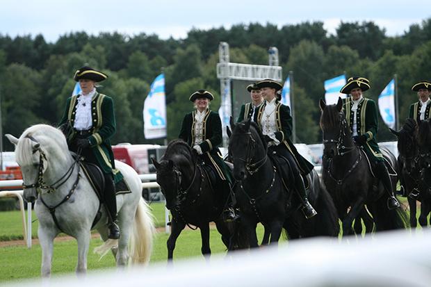 Schwarze Perlen des Nordens: Im Rahmenprogramm werden auch edle Friesen auf dem Geläuf präsentiert. Foto: Bratke