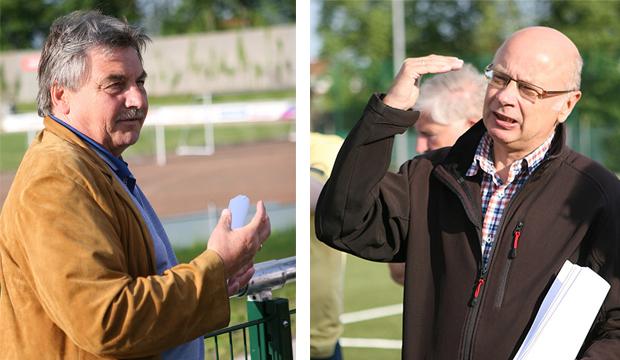 Funktionäre: Vorstandssprecher Rolf Meyer und Fußballabteilungsleiter Peter Ressel sehen im neuen Kunstrasenplatz ein Vorzeigeprojekt.
