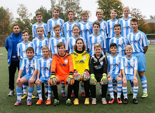 Mach et: Die I. C-Jugend von Basche United wurde jüngst von einem Kölner unternehmen mit einem Dress ausgestattet. Foto: Bratke