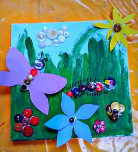 Kinder können in der Kunstschule Noa Noa tolle Knopfbilder erschaffen.