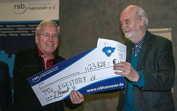 Stolze Summe: Egestorfs Vorsitzender Wolf-Kersten Baumann (links) freut sich über knapp 24.000 Euro.