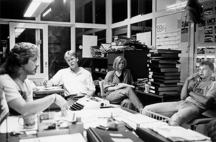Redakteur Erk Bratke für die DLZ in Szene im Gespräch mit den Initiatoren des Live Open in Groß Munzel, Mario Leupold, Sandra Stange und Dirk Lahmsen (von links).