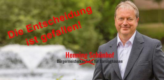 Gewonnen: Der SPD-Kandidat Henning Schünhof hat die Stichwahl um das Bürgermeisteramt in Barsinghausen für sich entschieden. Er setzte sich gegen den CDU-Kandidaten Dr. Roland Zieseniß durch, der den ersten Wahlgang Anfang November noch knapp gewonnen hatte.